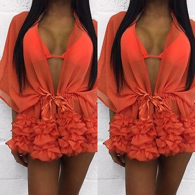 Black Friday Deals Fashion Women Bathing Suit Chiffon Bikini Swimwear Cover Up Beach Dress 5 Colors