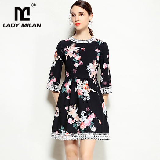 New Arrival 2018 Womens O Neck Short Sleeves Angels Printed Lace Patchwork A Line Fashion Designer Runway Dresses