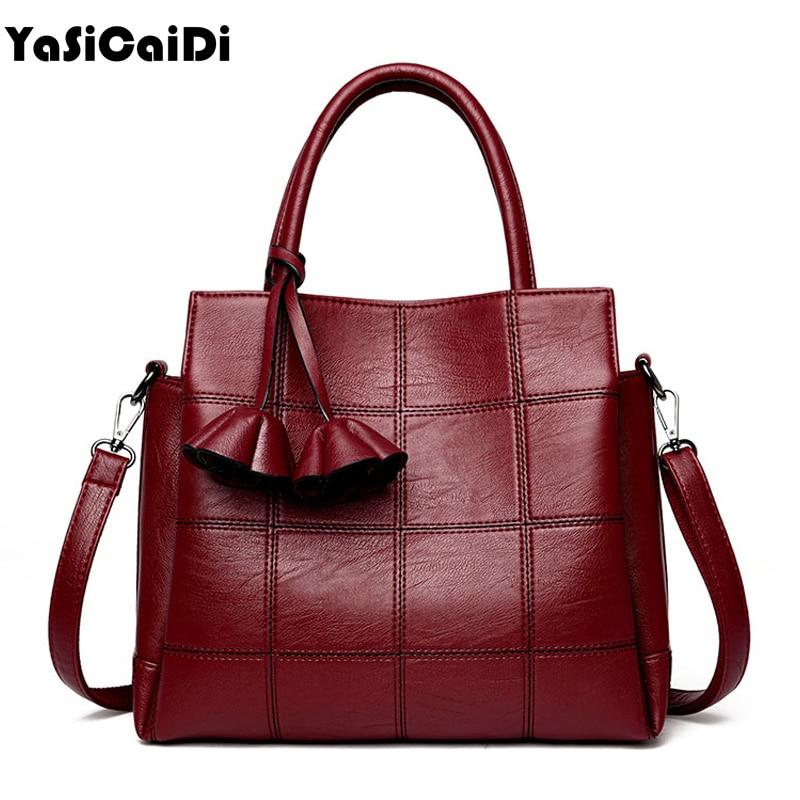 YASICAIDI Fashion Pu Leather Women <font><b>Shoulder</b></font> Bags Famous Designer Vintage Tassel Large Women Messenger Bags Ladies Tote Bags Sac