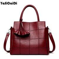 YASICAIDI Fashion Pu Leather Women Shoulder Bags Famous Designer Vintage Tassel Large Women Messenger Bags Ladies