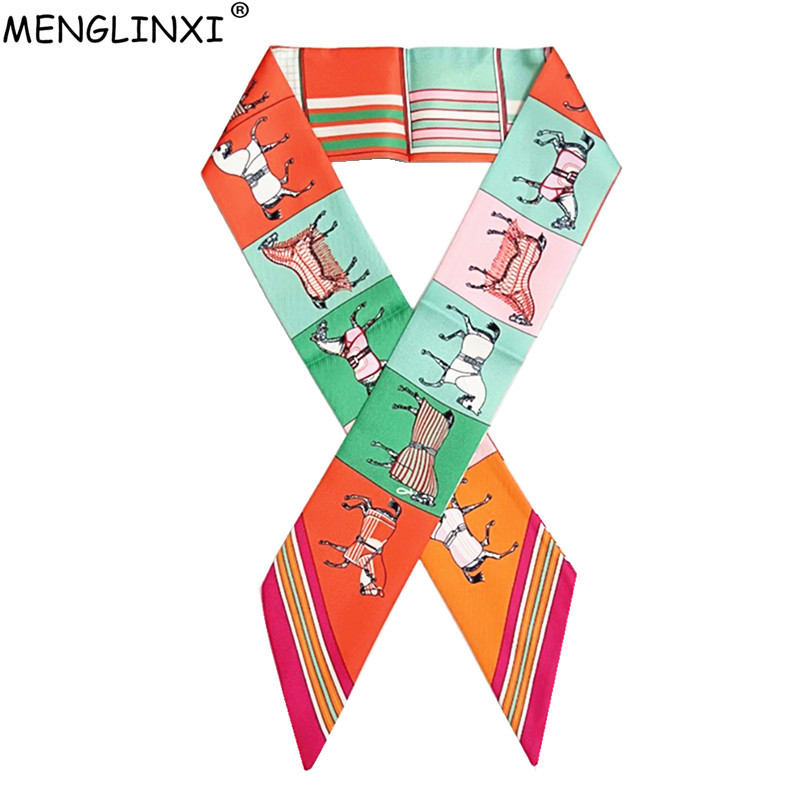 2020 New Scarf For Women Horse Plaid Printing Skinny Bag Scarf Brand Silk Foulard Women Tie Fashion Head Scarves For Ladies