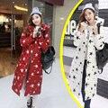 Inverno Jaqueta de Algodão para baixo 2017 das Mulheres da Moda Magro Estrelas Padrão Impresso Parka Casacos Com Capuz Casaco Quente Longa Seção