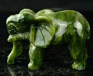 Image 3 - Collectable Exquisite Chinese Natural Green Jade Carving Animal Elephants Longevity Auspicious Statue A Pair