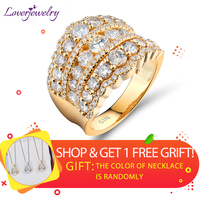 LOVERJEWELRY Wedding Band Ring 18k Yellow Gold Luxury Real Diamonds Ring For Women Engagement Party Rings Valentine's Day Gift