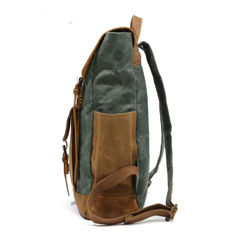 Retro Contrast Oil Wax Waterproof Canvas Bag Travel Backpack Computer Schoolbag Large Capacity Women Backpack 10