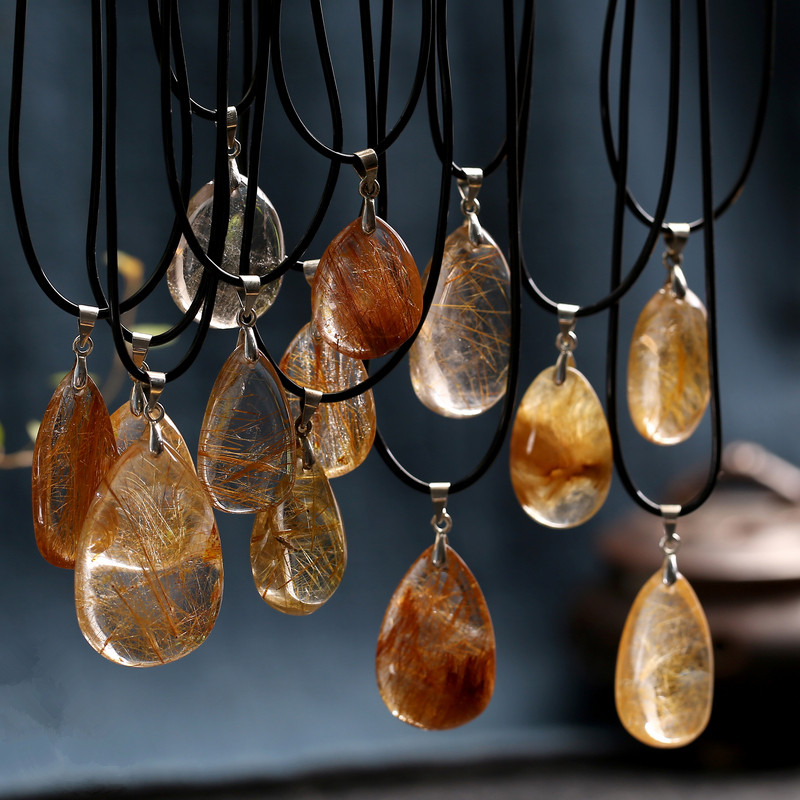 Natural Stones Rutilated Quartz Pendant Hair Crystal Free Necklace Mineral Specimen Garden Crystal Gost Quartz Jewelry Energy To Suit The People'S Convenience