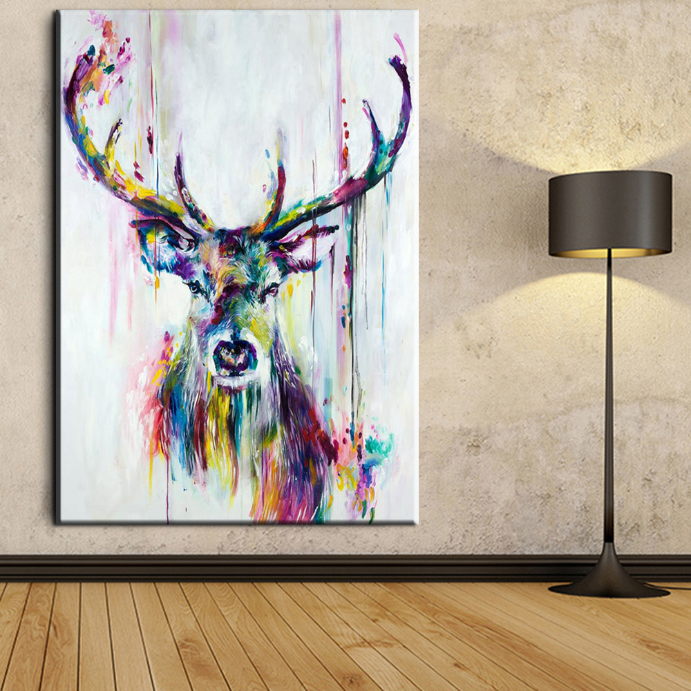 xh181 Big Triptych Watercolor Deer Head Posters Print Abstract Animal Picture Canvas Painting No Frames Living Room Home Decor