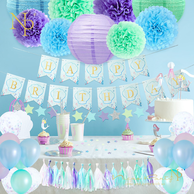 Paper Cut Out Blue Balloons First Birthday Decoration: Nicro 54Pcs/Set Happy Birthday Mermaid Green Blue Purple