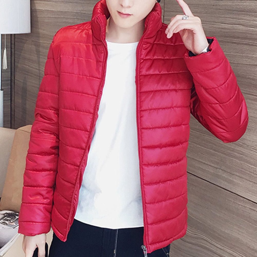 Winter Men's Skinny   Parkas   2017 Fashion Simple solid color Cotton Padded Men Outercoats Male Thicken Warm Coat Oversized M- 4XL