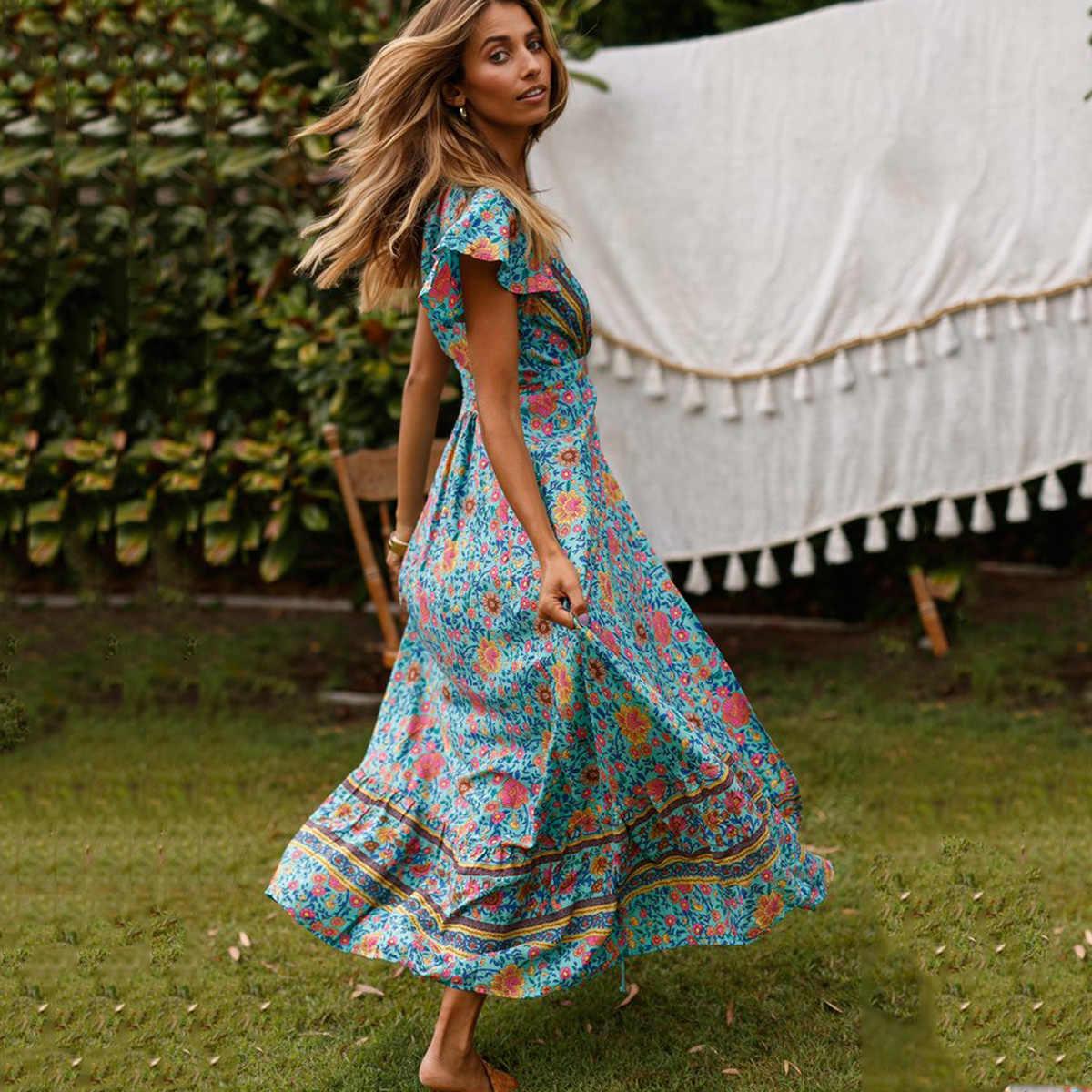 02cc31a75d0c Jastie Green Floral Print Wrap Dress Short Butterfly Sleeves Boho Summer  Dresses V-Neck Women