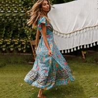 Jastie Green Floral Print Wrap Dress Short Butterfly Sleeves Boho Summer Dresses V Neck Women Maxi Dress Casual Beach Dress