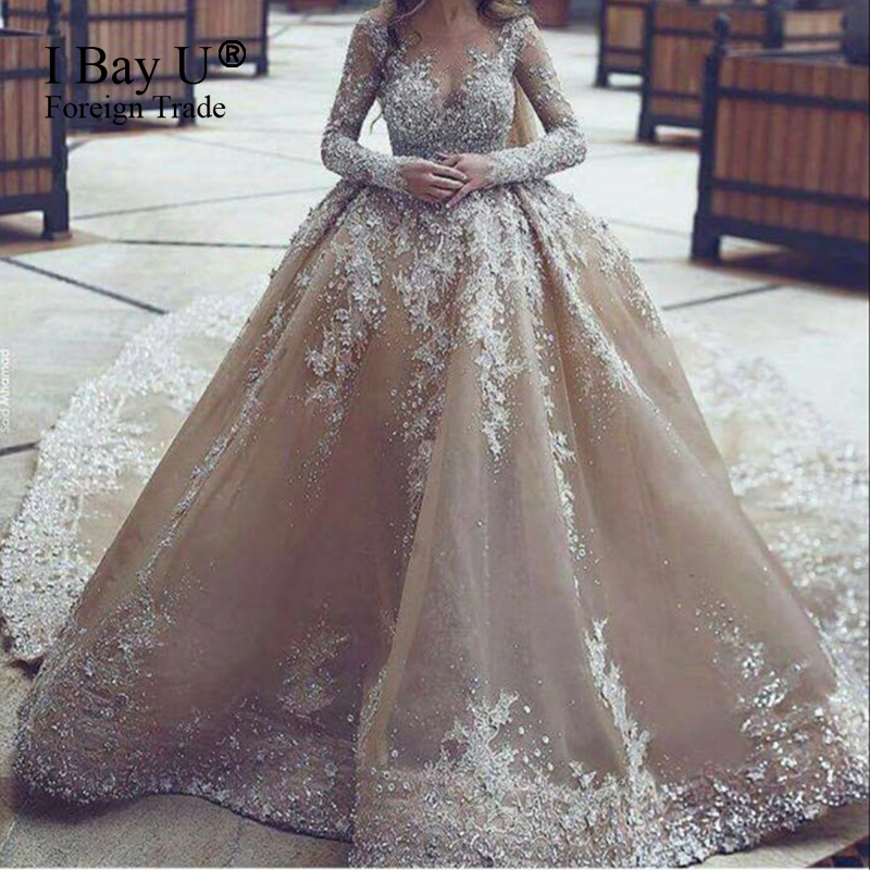 Top Customized Crystal Champange Arab Wedding Dresses 2017 Puffy Shining Stones Arabic Ball Gown Gowns Mariage In From Weddings