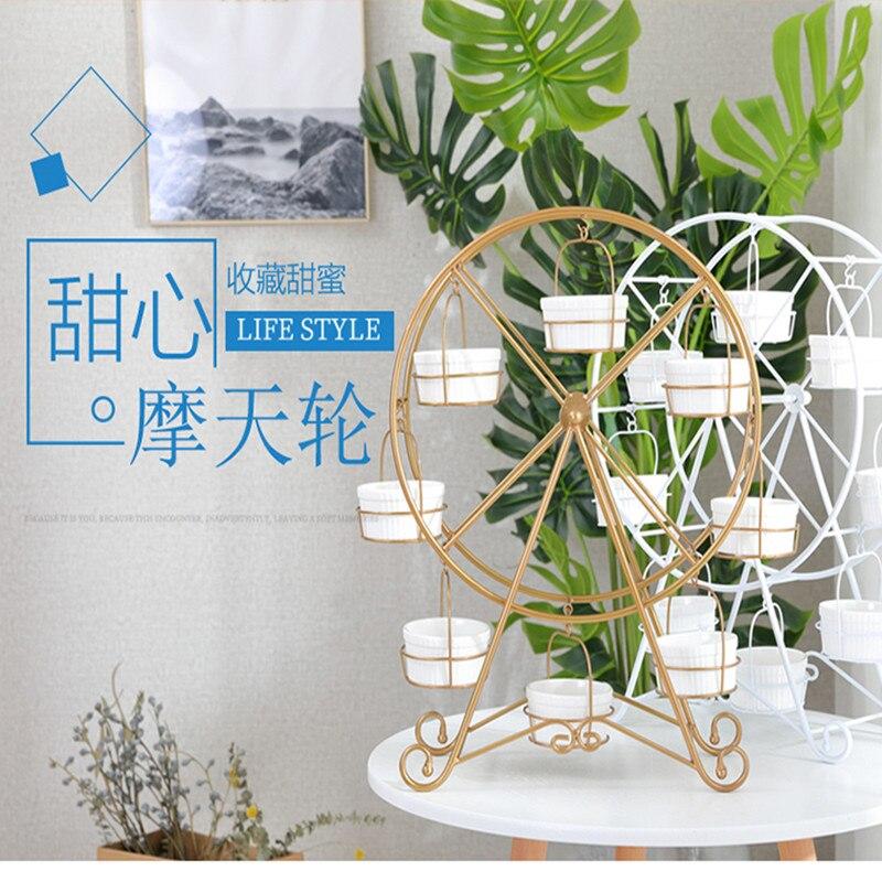 Oro/Bianco Metallo Ferris Wheel Cupcake Cremagliera Che Serve Basamento Torre Di Compleanno/Wedding Cake Decorating Tools/prodotti senza tazze