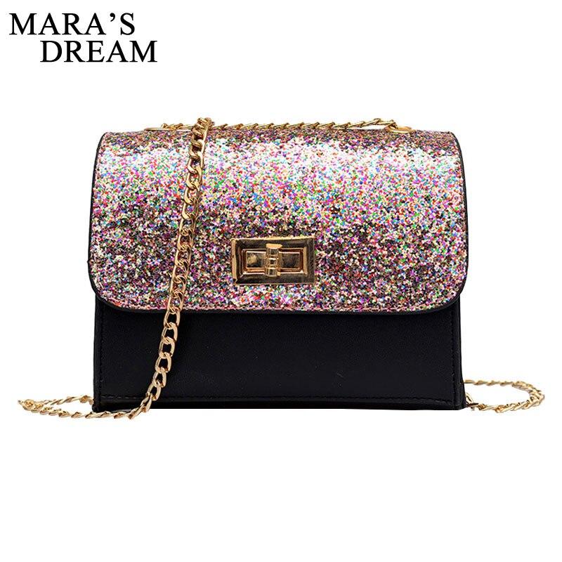 Mara's Dream Bling Sequins Mini PU Party Shoulder bags Women Messenger Bags Chain Shoulder Crossbody Bag Designer bolso sac main цена