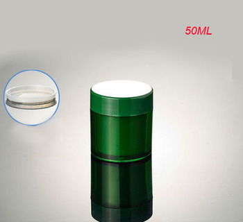 NEW high quality 50G green double wall cream jar,green plastic 50 g cosmetic container , 50g plastic green plastic cream jar