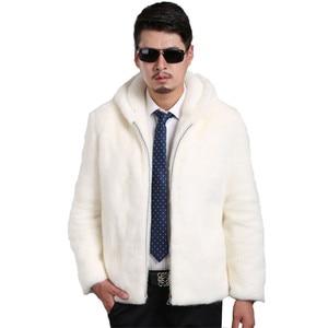 Image 1 - 2018 New Suede Coat Mens Trimmed Mens Mink Fur Hooded Lapel Jacket Mens Large Size S XXL XXXL 4XL 5XL Jacket Artificial Fur