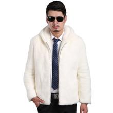 2018 Новое замшевое пальто мужская приталенная Мужская норковая Меховая куртка с капюшоном и отворотом Мужская куртка большого размера S XXL XXXL 4XL 5XL куртка из искусственного меха