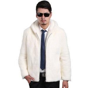Image 1 - 2018 Новое замшевое пальто мужская приталенная Мужская норковая Меховая куртка с капюшоном и отворотом Мужская куртка большого размера S XXL XXXL 4XL 5XL куртка из искусственного меха