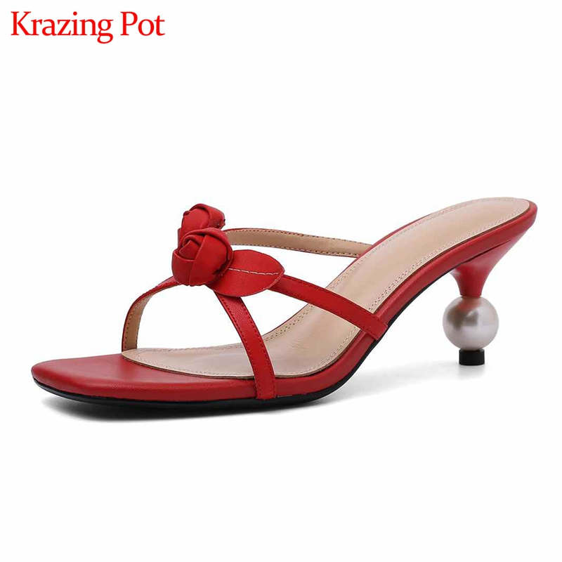 New microfiber natural leather special design flowers decoration peep toe pearl-studded high heels streetwear lovely sandals L20New microfiber natural leather special design flowers decoration peep toe pearl-studded high heels streetwear lovely sandals L20