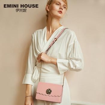 EMINI HOUSE Camellia Crossbody Bags For Women Luxury Handbags Women Bags Designer Split Leather Shoulder Bag Messenger Bag Shoulder Bags
