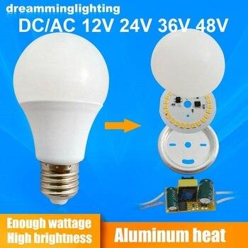 Żarówki LED E27 DC/AC 12V 24V 36V 48V 6500k lampy halogeny Home Camping awaryjne oświetlenie drzwi 3w 5w 7w 9w 12w 15w SMD2835 lampy
