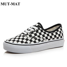 Couple Sports Man Shoes Black And White Checkered Female Flat Bottom Wild Canvas Checkerboard Sneakers Low-top Footwear