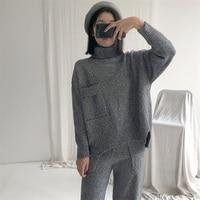 Для женщин свитера и пуловеры реального тянуть пончо 2018 Новинка зимы шерсть 2 шт. женский толстый теплый вязаный свитер брюки два костюма