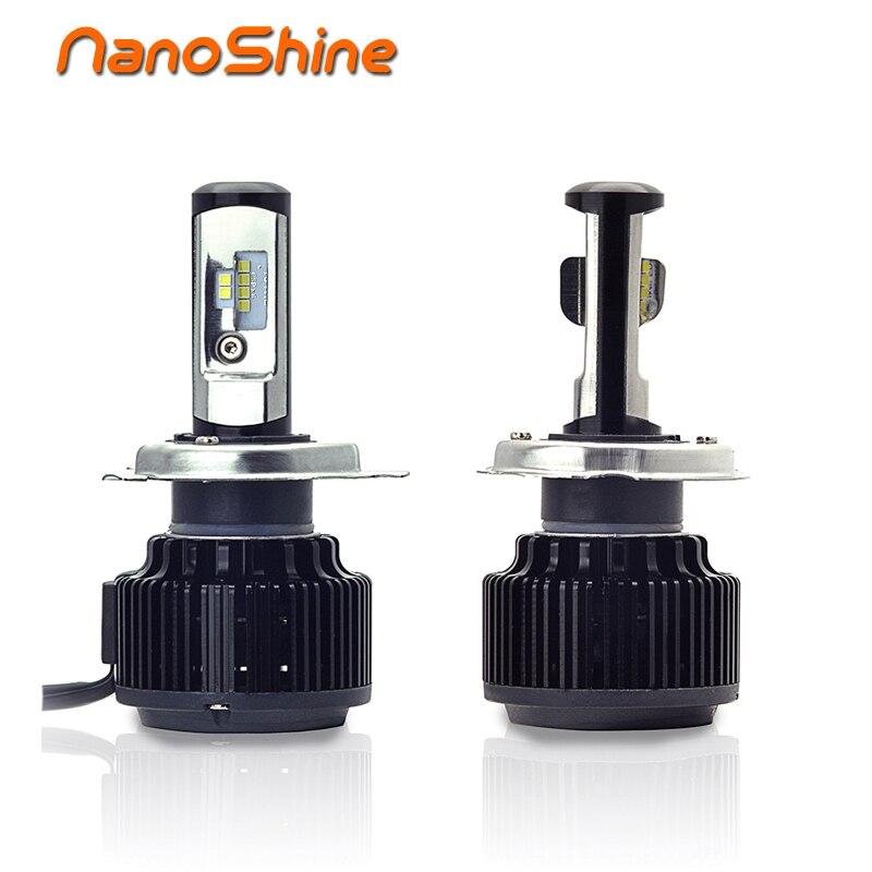 Nanoshine 2Pcs H4 LED Auto Car Headlight 80W 8000LM High Low Beam Bulb All In One Automobile Lamp 6000K 12V 24V