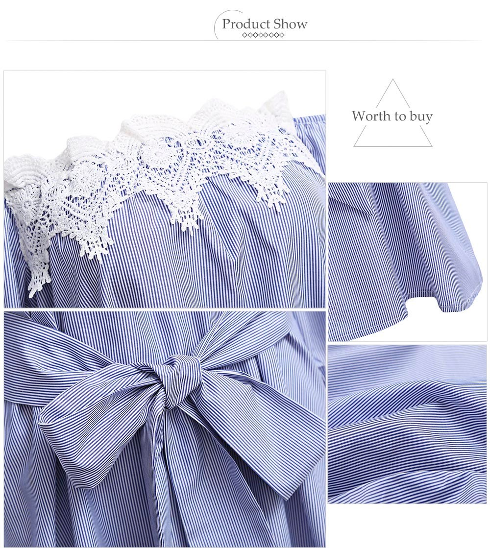 VESTLINDA Off Shoulder Blue Striped White Applique Mini Dress Women Slash Neck Lantern Sleeve Casual Sexy Short Dress With Belt 11