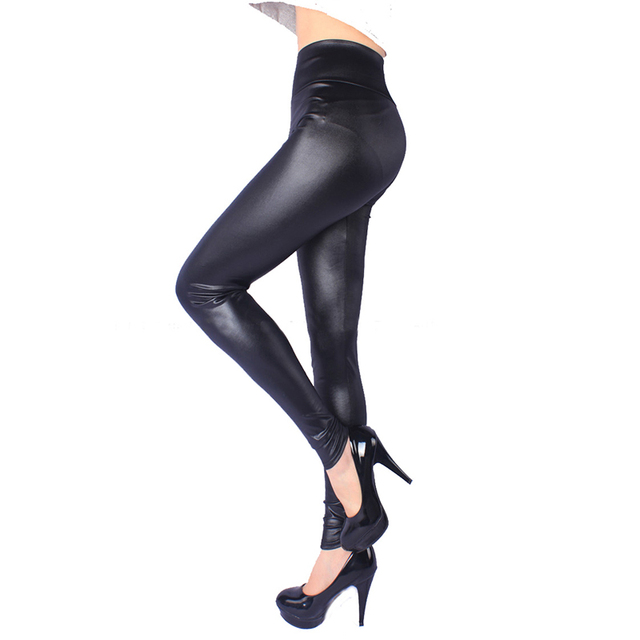 Women High Elastic Faux Leather Leggings