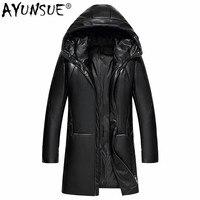AYUNSUE 100% Дубленки Для мужчин с натуральной кожаные пальто Для мужчин зимняя теплая пуховая куртка с капюшоном Мужские кожаные верхняя одежда