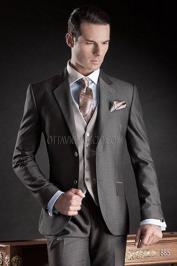light grey vest with dark grey pants