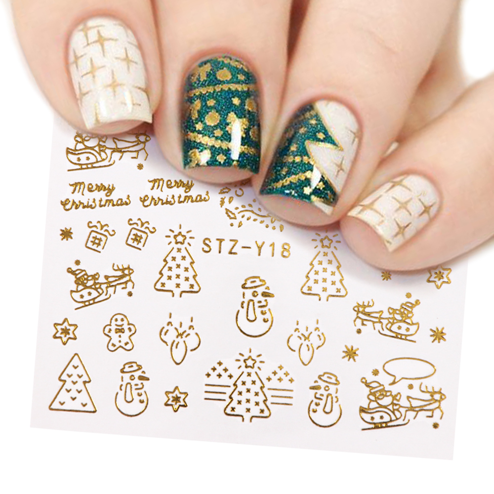 1 Pcs Gold Silver Christmas Design Nail Art Stickers Winter Snow Flower Sliders Water