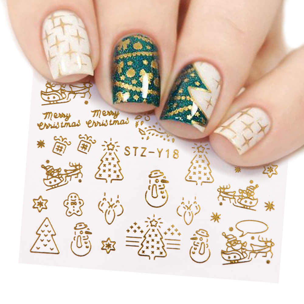 1 Pcs Gold Silver Christmas Design Nail Art Stickers Winter Snow Flower Sliders Water Decals for Nails Manicure Tool LASTZ-YA-2