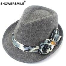 SHOWERSMILE Grey Women Fedora Hat Classic Bow Wool Hat Felt Vintage Autumn Winter Tweed British Jazz Hat Elegant Caps Fashion wool hat w mask yellow grey