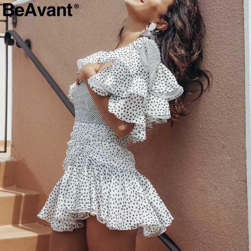 BeAvant/Пышное Платье с квадратным вырезом и оборками на рукавах, сексуальный горошек, платья с принтом, женские богемные ретро хиппи, Короткие праздничные платья vestidos