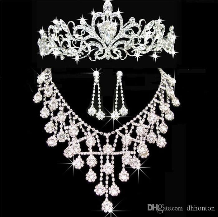 Diadèmes or diadèmes couronnes de mariage bijoux de cheveux neceklace, boucle d'oreille pas cher en gros de mode filles soirée bal robes accès