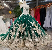 LSS0012 Emerald Evening Dress V Neck Off The Shoulder Short Sleeves Long Flowers Lace Up Back