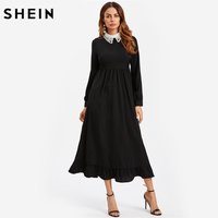 SHEIN Contrast Eyelet Embroidered Collar Ruffle Hem A Line Dress Autumn Black Contrast Collar Long Sleeve Maxi Dress