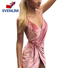 V neck pink velvet sexy dress women Evening party high split backless long dress Sundress with belt vestidos de festa DR1308