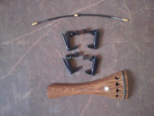 1 PC Wenge wood Tail piece with 4 PCs Full Black Fine tuner& Tail gut all 4/4