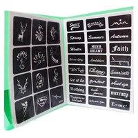528 Modelli Airbrush Stencil Glitter Tattoo Animale Sveglio Fiore Lettera Stencil per la Pittura Tatoo Modelli con il Libro Regalo