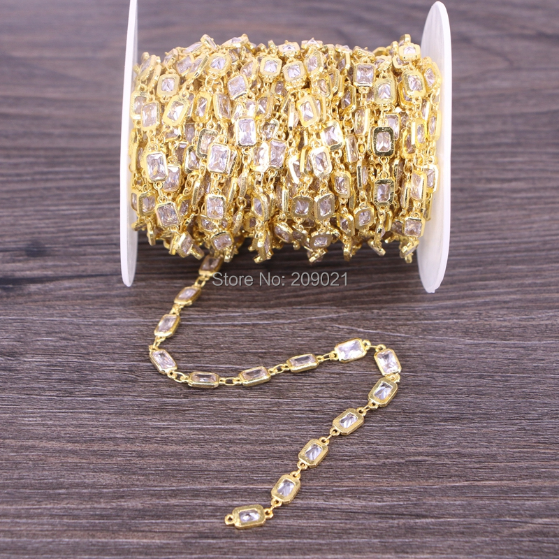 Finding DIY 3 Meter Cubic Zirconia Brass Chain,4x6mm Rectangle Beaded Chain,For Jewelry Making-in Jewelry Findings & Components from Jewelry & Accessories    2
