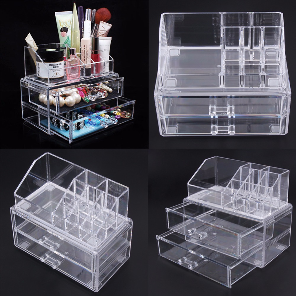 Desk Makeup Organizer Desk Transparent Acrylic Cosmetic Case Storage Drawer Insert Jewelry Box Holder FULI large box acrylic makeup cosmetic case stand insert holder rack organizer glossy makeup organizer 3 layer drawers transparent