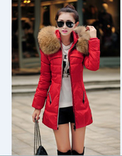 2016 Autumn and winter jacket women large fur collar wadded jacket female medium-long outerwear thickening cotton-padded jacket