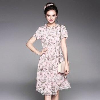 d5cba103ebd 2017 модные женские туфли Лето Элегантный цветочный шифоновое платье  Пережатая Талия выращивания платье плюс размер туника