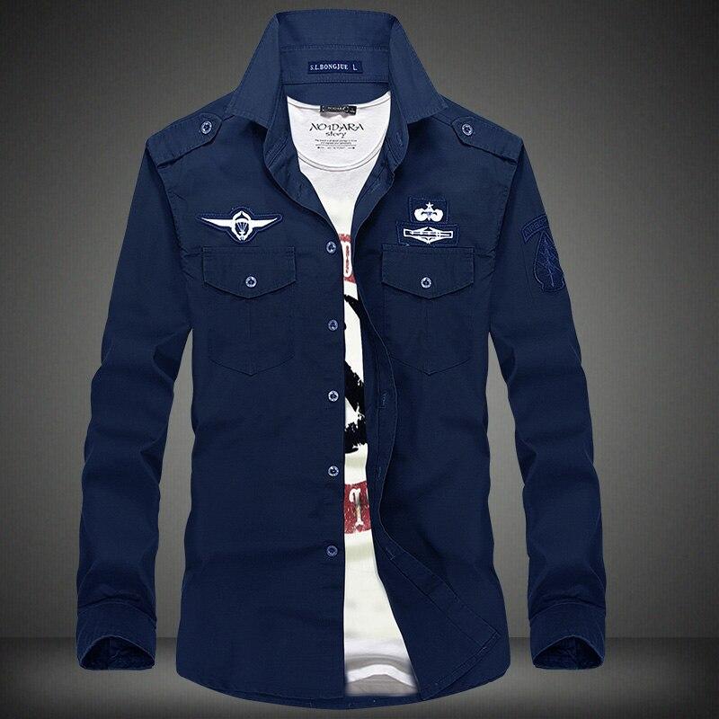 new shirt air force one men shirt long sleeve slim fit aeronautica militare men dress shirt 4XL camisas camisa masculina