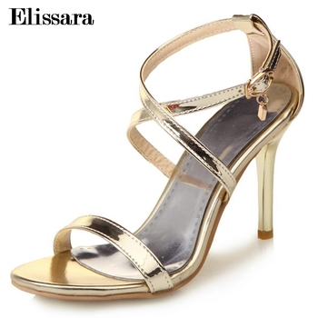 Elissara Grendha Sandal Feminine High Heels Open Toe Rome Sandals Women Ankle Straps Party Sandal Shoes Plus Size 33-47 sandal