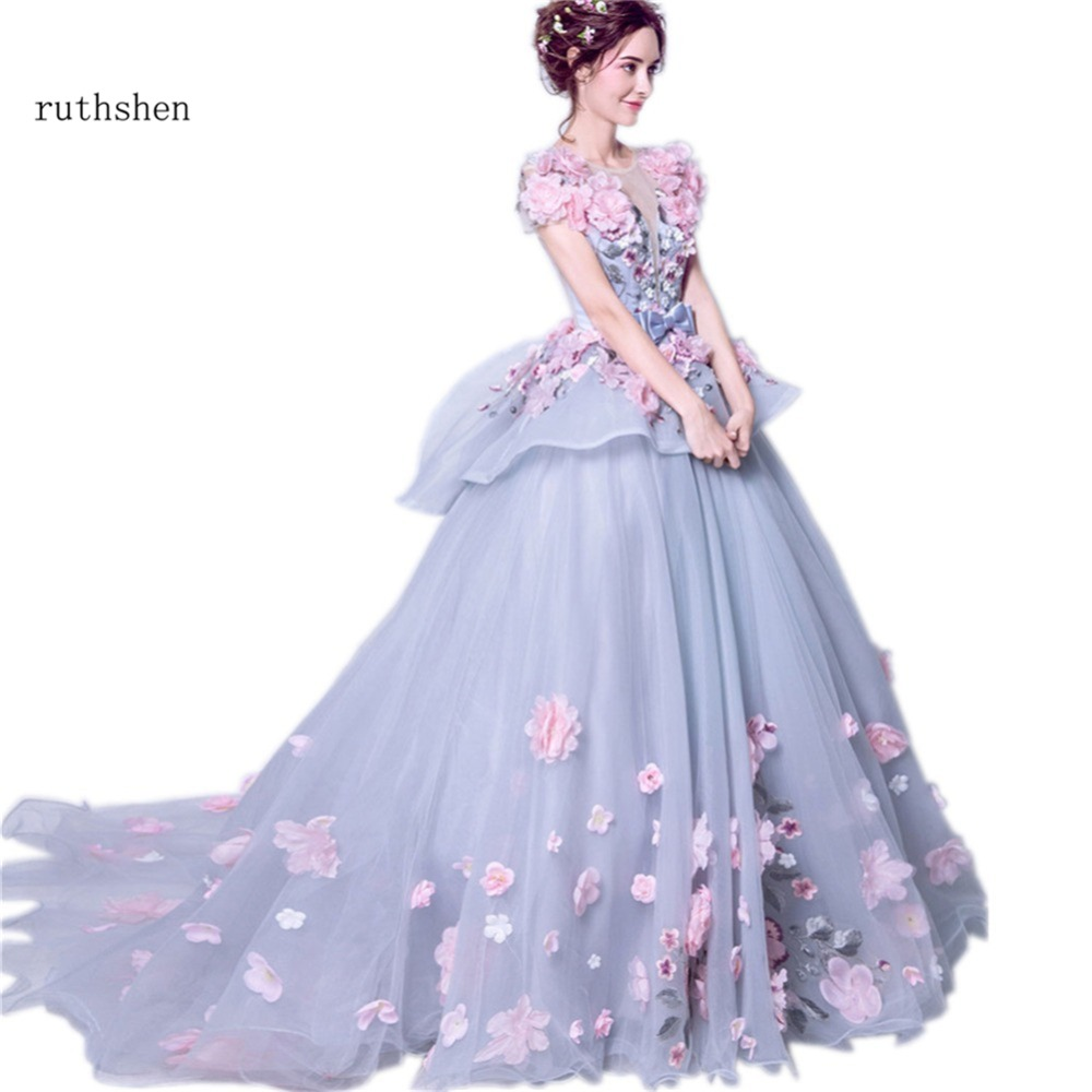 ruthshen Luxury   Evening     Dresses   2018 3D Floral Ruffles Sexy Formal Prom Gowns With Short Sleeves Speicial Occasion   Dresses