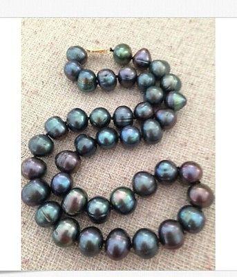 TAHITIAN 11-12mmmar del Sur Negro Azul perla collar 18 pulgadas